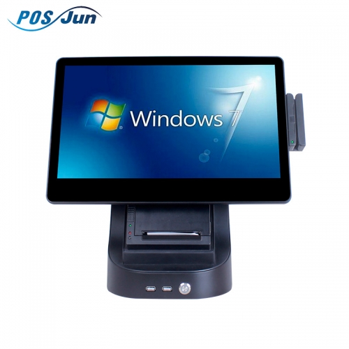 New design retail buying, cash register counter, tablet with touch screen