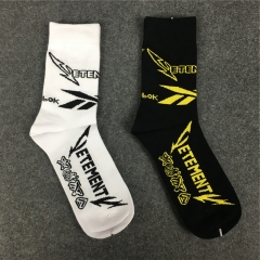 [No.573] Free shipping Vetements x Rbk letter socks black white