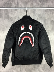 [No.888] Embroidery shark face MA1 jacket silver black