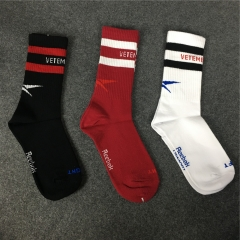[No.574] Free shipping Vetements x Rbk stripe letter socks