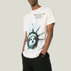 [No.454] Free shipping Off-White OW 18SS Statue of Liberty T-shirt Blue/White