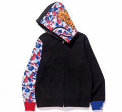 [No.735] Paris Limited Black Half Camo Shark Hoodie