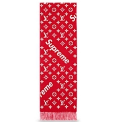 [No.279] Free shipping Sup Old logo wool scarf red