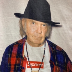 Free Shipping Sup 15ss Neil Young Tee Black White