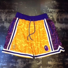 Free shipping Bape x Lakers Mitchell & Ness Shorts