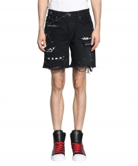 Hole Destory Amiri Style Denim Shorts black blue