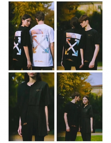Free shipping Off-white Shanghai Limited Tee black white
