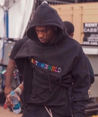 Free shipping Astroworld Embroidered Logo hoodie Travis Scott