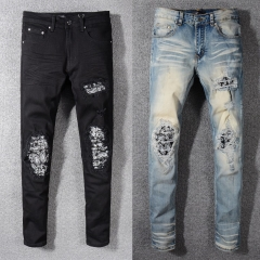 Amiri MX1 CHARCOAL BANDANA CRYSTAL JEAN Blue BLACK