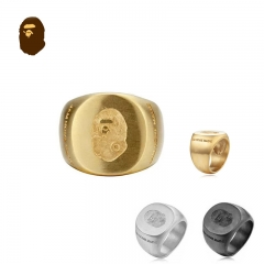 Free shipping Bape x Jam Home Made Ring gold silver black