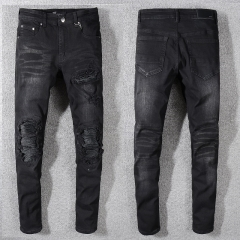 Amiri MX1 LEATHER PATCH JEAN AGED BLACK