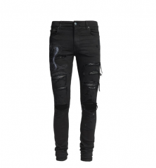 Amiri ART PATCH SNAKE JEAN BLACK