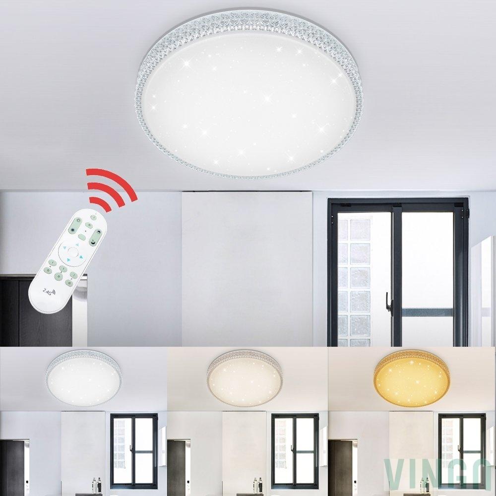 VINGO 50W LED Deckenlampe Dimmbar Starlight Effekt Deckenbeleuchtung  Wohnzimmer Wandlampe Schlafzimmer Deckenleuchte Sternen Kristall Deko  Sternenhim