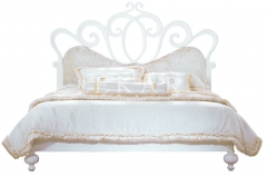 Crown Solid Wood and Leather Bed Frames , Gold/White