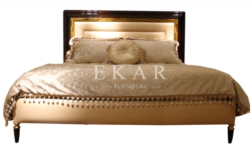 Jemma Classic Leather Bed , Black and Gold