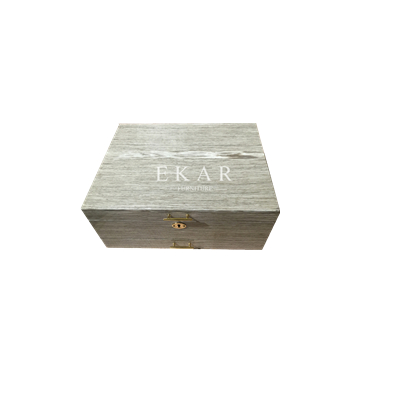 Girls Flash Star Grey Small Square Wooden Jewelry Box