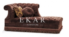 Modern Brown Indoor Tufted Indoor Furniture   Chaise Lounge Sofa