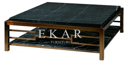 Marble Top Dark Wood And Glass Coffee Table