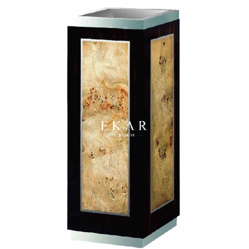 Neoclassical Style Wooden Garbage Can with Natural Veneer