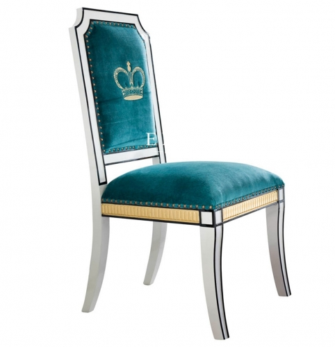Blue Upholstered Spanish Royal Style Elegant Dining Chair For Sale