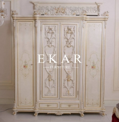 Luxury vory white wooden wardrobe with pattern