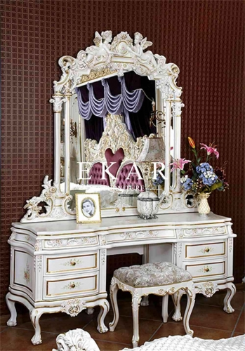 Baroque Style Vintage White Wooden Dressing Table Vanity Table