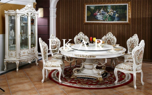 Round White Wood Dining Table For Dining Room Furniture