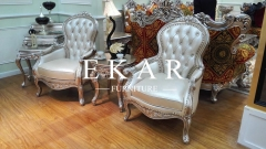 Royal Style Furniture Solid Wood Frame With Leather Chair
