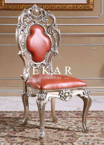 Baroque Style Red Wooden Comfy Leather Chair