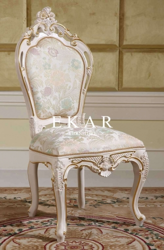 Comfortable White Small Carved Wooden Chair