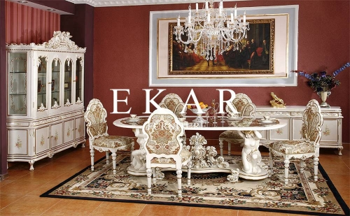 Vintage Baroque Furniture White Wooden Dining Table