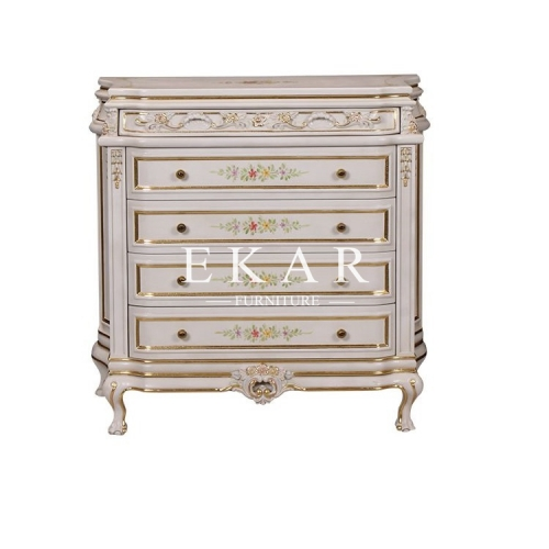 Ivory Wooden Chest With Flower Patterns