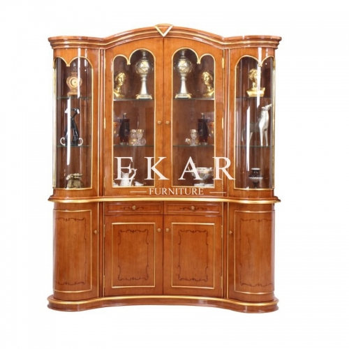 4 Doors Wooden Bar Cabinet Bar Unit Glass Cabinet