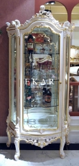 French Design White Wooden One Door Glass Cabinet