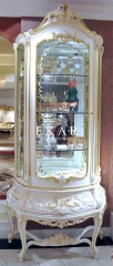 White Wooden With Golden Frame Single Door Glass Cabinet