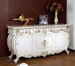 Luxury White Wooden Hand Carved Living Room Cabinet
