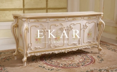 Ivory Flower Patterns Wooden Cabinet Sideboard Tables