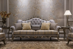 Gray classic carved flower corduroy sofa furniture set