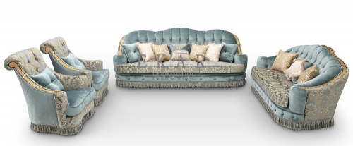Luxury Carving European Style Living Room Furniture Blue Fabric Couch