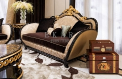 Black Couch Living Room Tufted Royal Fabric Sofa Set