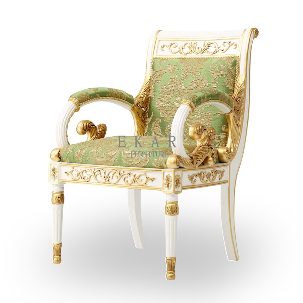 White With Green Comfortable Armchair Furniture Living ...