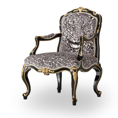 Cheetah Patterned Chairs Black Accent Armchair Set For Sale