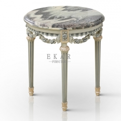Wooden Carved Design Marble Top Round Corner Tea Table