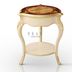 Round Small Wood Veneer Top Accent Table