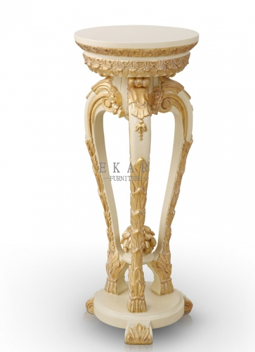Elegant French Royal Style White and Gold Wooden Flower Stand