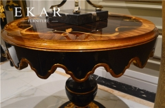 Classy Black Wooden Sunflower Side Table with Wave Design/End Table/Accent Table