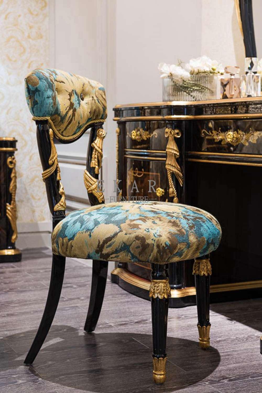 Bedroom Furniture Embroidered Fabric Vanity Chair Vanity
