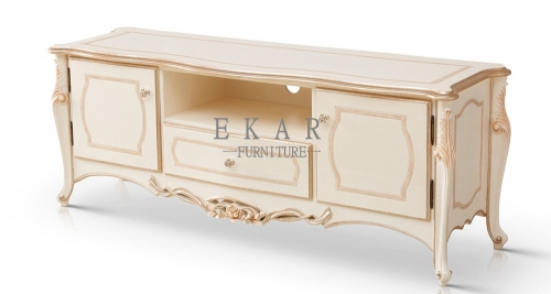 Exquisite Carved White Wooden TV Furniture Universal TV Stand