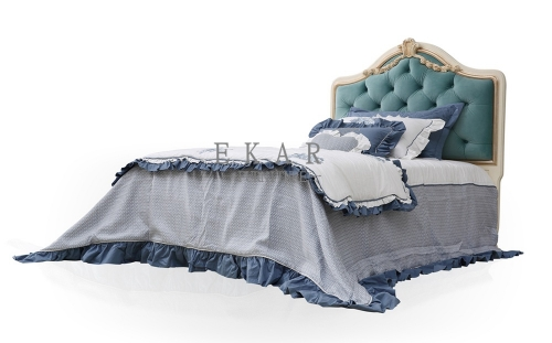 King Size Blue Tufted Upholstered Headboard Single Bed Frame
