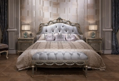 Grey Upholstered Headboard King Frame Handcarved Bed